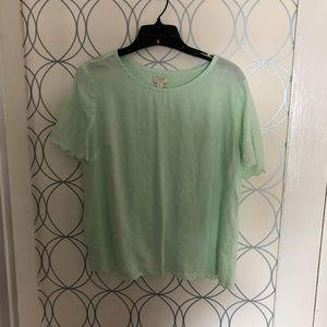 J Crew linen embroidered top mint green sz8